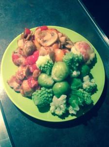 Hähnchen mit Gemüse gebraten